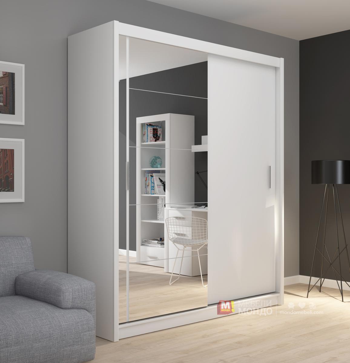 3ebecd6f9ad Бял гардероб Фадо 180 62541 на топ цени — Мебели Мондо