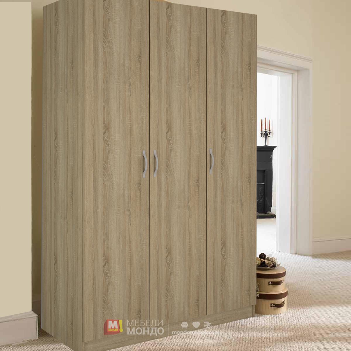 483ffadbe1e Дъб сонома трикрилен гардероб Силвър 11 50216 на топ цени — Мебели Мондо